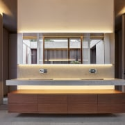 Architect: Ramón Esteve Estudio de Arquitectura bathroom, bathroom accessory, bathroom cabinet, cabinetry, furniture, interior design, room, sink, orange