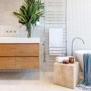 Architect: Alexandra Buchanan ArchitecturePhotography by Debra McFadzean bathroom, bathroom accessory, bathroom cabinet, ceramic, floor, flooring, interior design, product, product design, room, tap, tile, wall, wood, white