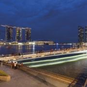 Jubilee Bridge – Cox Architecture bridge, city, cityscape, evening, marina, metropolis, metropolitan area, night, river, sky, skyline, water, waterway, blue