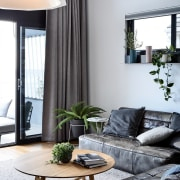 Indoor plants bring the outside in - Indoor furniture, home, house, interior design, living room, room, table, window, window covering, window treatment, gray