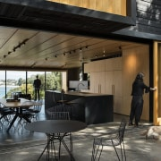 Simple shapes and a two-tone material palette, give architecture, furniture, house, interior design, table, black, McNaughton Windows & Doors,  Strachan Architects,  KWC Taps,