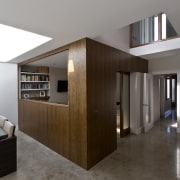 The home is a series of interconnecting spaces architecture, ceiling, daylighting, floor, flooring, house, interior design, lobby, real estate, gray, black
