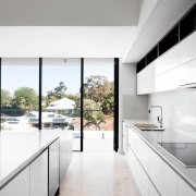 Views out to the neighbourhood beyond architecture, countertop, daylighting, floor, flooring, house, interior design, kitchen, tile, white, gray