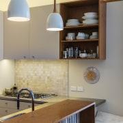 TIDA NZ 2017 – Designer kitchen entrant – cabinetry, countertop, furniture, home, interior design, kitchen, light fixture, product design, room, shelf, shelving, orange, gray