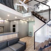 Architect: Martin ArchitectsPhotography by Alexander Kondrianenko architecture, ceiling, daylighting, floor, flooring, house, interior design, living room, loft, gray