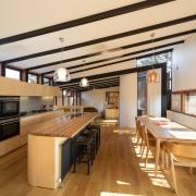 A unique window arrangement means sunlight throughout the interior design, kitchen, real estate, orange