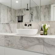 LSA Architects - TIDA AUS 2017 – Architect-designed bathroom, ceramic, countertop, floor, flooring, interior design, plumbing fixture, product design, sink, tap, tile, wall, gray