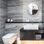 Architect: mcmahon and nerlich architectsPhotography by superk bathroom, bathroom accessory, bathroom sink, bidet, ceramic, floor, flooring, interior design, plumbing fixture, product design, sink, tap, tile, toilet seat, wall, gray, white