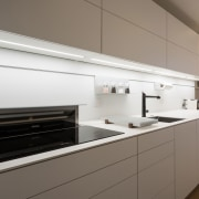 A pop-up Miele extractor means you've got powerful cabinetry, countertop, cuisine classique, home appliance, interior design, kitchen, kitchen stove, product design, gray, white