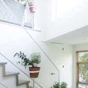 Another view of the stairway – pot plants architecture, ceiling, daylighting, handrail, home, house, interior design, property, real estate, stairs, wall, window, white