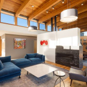 This sitting area is connected to the other ceiling, daylighting, estate, home, house, interior design, living room, loft, real estate, room, brown