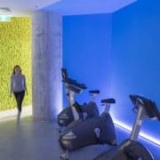 The warm-up room blue, gym, interior design, leisure, room, sport venue, structure, blue