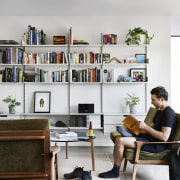 Architect: Liam WallisPhotography by Tess Kelly bookcase, furniture, interior design, living room, shelf, shelving, white