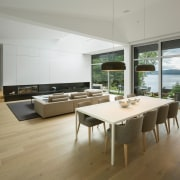 You can step right out onto the lake architecture, floor, flooring, house, interior design, table, gray, brown