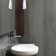A table top basin and walnut countertop provide bathroom, bathroom accessory, bathroom cabinet, bathroom sink, ceramic, floor, interior design, lighting, plumbing fixture, sink, tap, tile, wall, gray, black