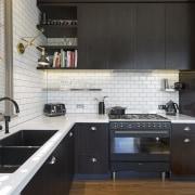 TIDA NZ 2017 – Designer kitchen entrant – cabinetry, countertop, cuisine classique, interior design, kitchen, real estate, black, white