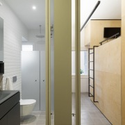 You can see into both the bathroom and architecture, daylighting, floor, glass, handrail, house, interior design, real estate, gray