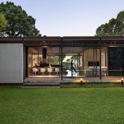 The Glass House influence is clear - The architecture, facade, home, house, property, real estate, brown