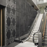 The Matapopore Charitable Trust was engaged on behalf flooring, handrail, interior design, lobby, stairs, structure, black, gray