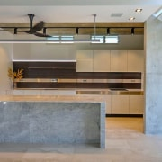 Natural marble and concrete make for complementary surfaces architecture, countertop, floor, interior design, lobby, loft, gray