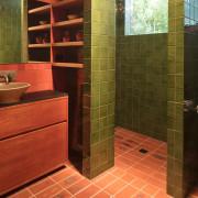 Architect: MRTN ArchitectsPhotography by Nic Granleese bathroom, floor, flooring, hardwood, interior design, room, tile, wall, wood, brown, red, orange