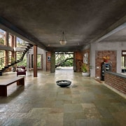Architect: Studio PKA http://www.purankumar.com/Photographer: Amit Pasricha estate, floor, flooring, interior design, lobby, real estate, black, gray