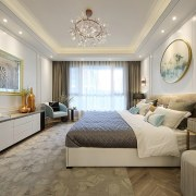 Designer: Li Jianmei Photography by Jianghe Architectural Photography bedroom, ceiling, estate, floor, home, interior design, real estate, room, suite, wall, gray