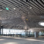 Municipal Offices and Train Station, Delft airport terminal, architecture, building, ceiling, convention center, daylighting, infrastructure, line, metropolitan area, structure, gray, black
