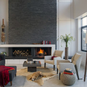 Architect: ZeroEnergy DesignPhotography by Eric Roth fireplace, furniture, hearth, home, interior design, living room, room, window, gray, black