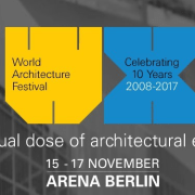 The World Architecture Festival is a three-day event advertising, blue, brand, design, energy, font, graphic design, line, presentation, product, text, yellow, black, gray