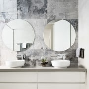 Dual circular mirrors – a studio trademark – bathroom, bathroom accessory, bathroom cabinet, bathroom sink, ceramic, floor, furniture, interior design, plumbing fixture, product design, sink, tap, tile, wall, white