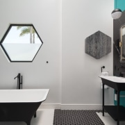Notice a theme? Things certainly feel hexagonal in bathroom, bathroom accessory, interior design, plumbing fixture, product design, room, sink, gray, black
