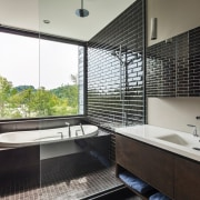 Estrade Residence – bathroom - Estrade Residence – architecture, bathroom, daylighting, estate, home, interior design, property, real estate, room, window, black, white
