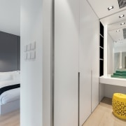 The wardrobe sits off from the master bedroom architecture, floor, home, interior design, product design, gray