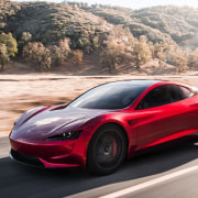 Tesla's new Roadster automotive design, car, concept car, family car, land vehicle, luxury vehicle, mid size car, motor vehicle, performance car, personal luxury car, race car, sports car, supercar, vehicle, white