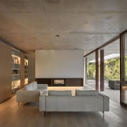 Architect: Ramón Esteve Estudio de Arquitectura architecture, bed frame, ceiling, daylighting, floor, flooring, furniture, house, interior design, living room, wall, wood flooring, gray, brown