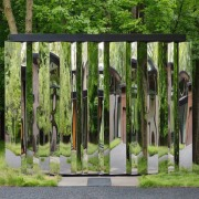 This out building has an ethereal quality garden, grass, outdoor structure, tree, green