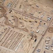 A close-up of the construction site - A aerial photography, ancient history, photography, orange, brown