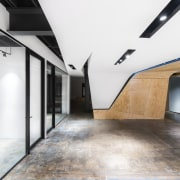 The office is clean, open and features clear architecture, ceiling, daylighting, floor, house, interior design, loft, white