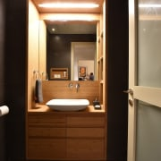 A sink nook is the perfect place to bathroom, bathroom accessory, interior design, room, brown, black