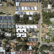 A view of the development from the air aerial photography, bird's eye view, city, neighbourhood, residential area, suburb, tree, urban area, gray