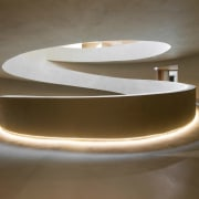 The bottom of the ramp features recessed lighting light fixture, lighting, lighting accessory, product design, table, brown