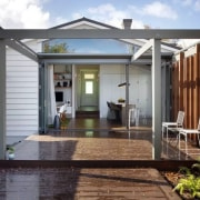 See more backyard, deck, facade, home, house, outdoor structure, porch, property, real estate, white