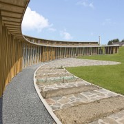 With sustainability and passive design rising high in architecture, grass, sky, structure, walkway, gray, teal, brown
