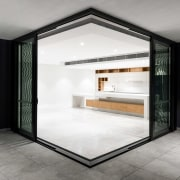 This kitchen can be sealed off if required architecture, floor, house, interior design, real estate, white, black, gray