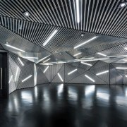 Architect: Ministry of Design architecture, black and white, ceiling, daylighting, light, lighting, line, structure, symmetry, black, gray