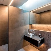 Registered Master Builders – House of the Year architecture, bathroom, ceiling, floor, flooring, interior design, property, room, tile, wall, brown