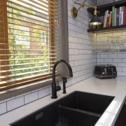TIDA NZ 2017 – Designer kitchen entrant – bathroom, countertop, flooring, interior design, room, sink, tile, gray, black