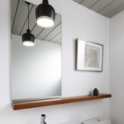 A unique panelled ceiling compliments the white walls bathroom, bathroom accessory, ceiling, daylighting, interior design, lamp, light fixture, lighting, product design, tap, wall, gray, white