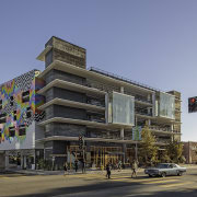 Platform's Washington Arts Building is a carpark and apartment, architecture, building, city, commercial building, condominium, corporate headquarters, downtown, elevation, facade, house, metropolis, metropolitan area, mixed use, neighbourhood, real estate, residential area, sky, tower block, black